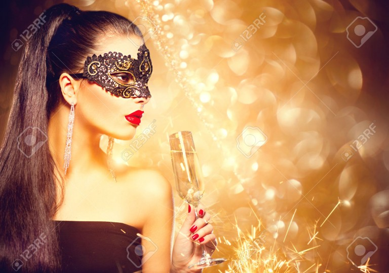 49636694-Sexy-model-woman-with-glass-of-champagne-wearing-venetian-masquerade-mask-at-party-Stock-Photo